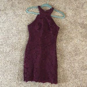 Maroon laced cocktail dress